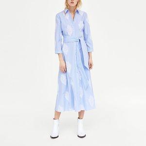 NWT Zara embroidered blue dress